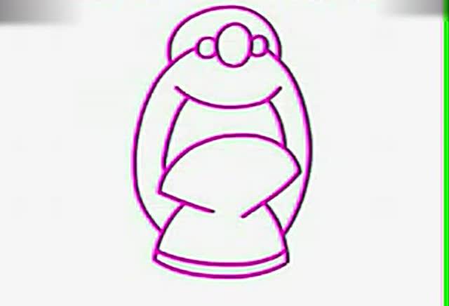 宝宝爱画画简笔画教程:日本小姑娘 适合3到6岁宝宝学习