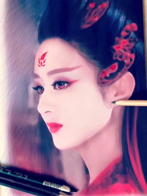 耳熟能详的演艺圈女神,赵丽颖,人物肖像画欣赏