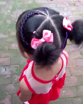 儿童时尚发型教程,宝妈必备,发带编发,时尚双丸子头
