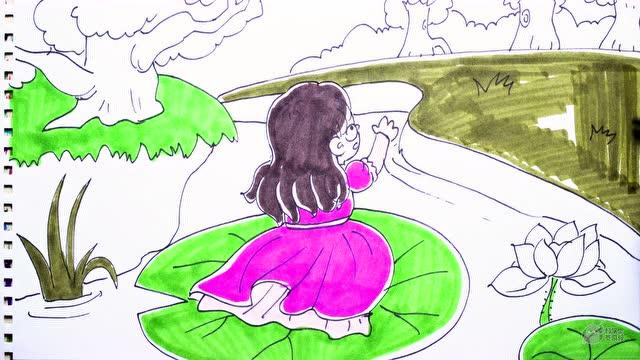 中外童话故事 拇指姑娘被风吹走了 简笔画场景教程