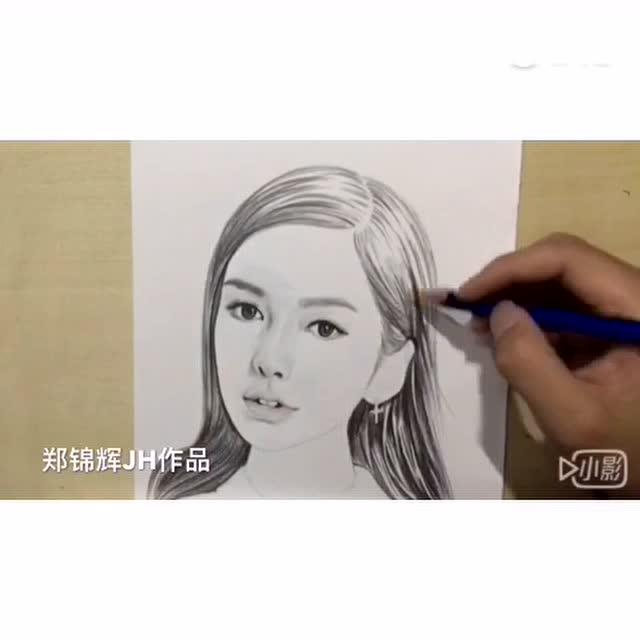女神angelababy素描手绘