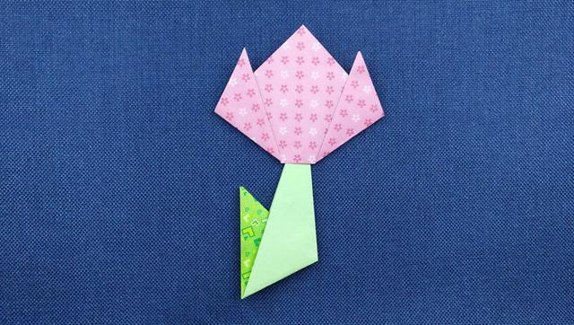 亲子手工 儿童折纸 漂亮郁金香花的折纸方法