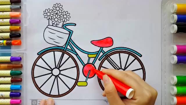 绘画游戏 给自行车涂上颜色图片