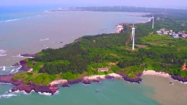航拍 儋州龙门激浪风景区
