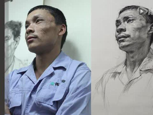国君美术:男中年侧面仰视素描头像