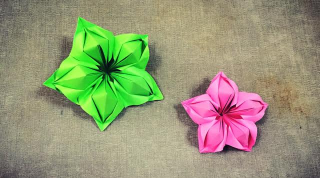 第276期 手工折纸:组合型花朵折纸视频