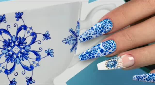 指尖上的中国 美甲之青花瓷