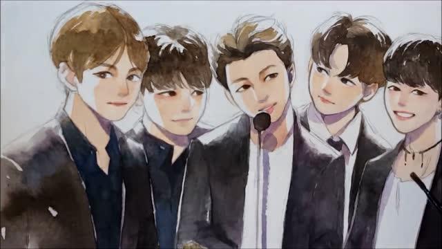 水彩手绘韩国少年天团bts,真是帅呆了!