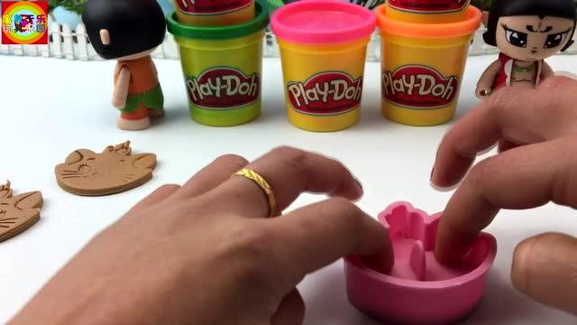 新葫芦娃兄弟玩培乐多彩泥手工制作小猫玩具