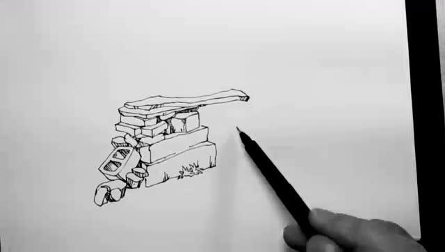 汤向——钢笔画风景速写入门教程 第一季:乱石堆