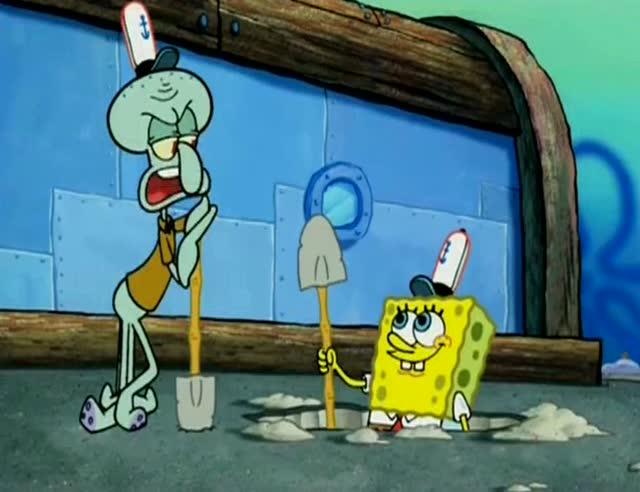 蟹老板给了章鱼哥和海绵宝宝两把铲子,他们在地上挖了图片
