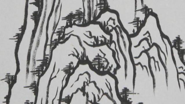 《国画养生》画山起手法11:山水小品立轴勾线讲解