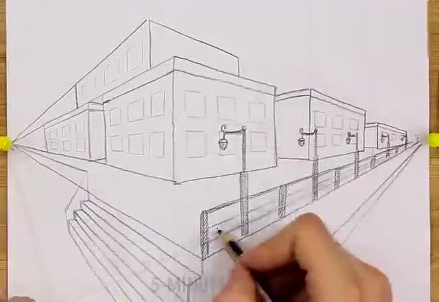 """厉害了,超简单""""#两点透视法#"""",简直是手绘建筑图的神技能![赞]"""