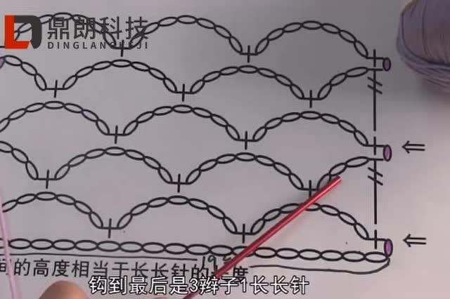 鼎朗科技钩针编织基础教程第十九节:7个辫子的渔网针