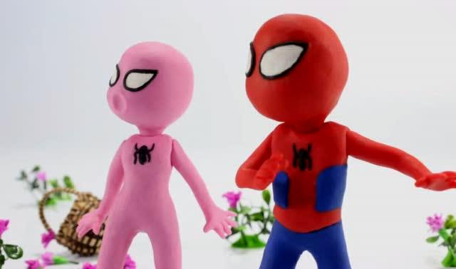 橡皮泥搞笑动画 蜘蛛侠为救女朋友打败恐龙