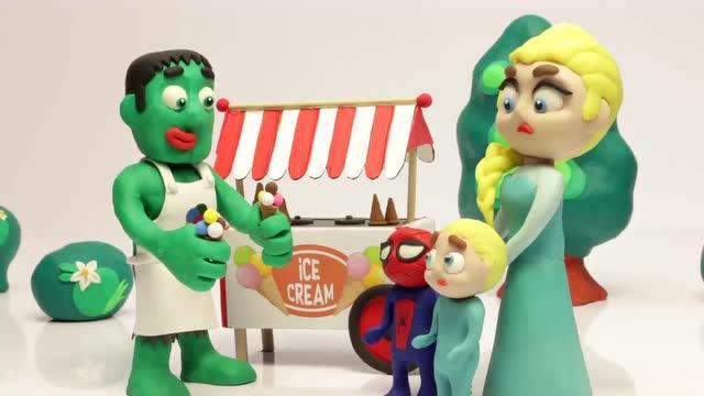 早教彩泥动画:艾莎给蜘蛛侠和小宝宝买冰激凌 真好吃呀