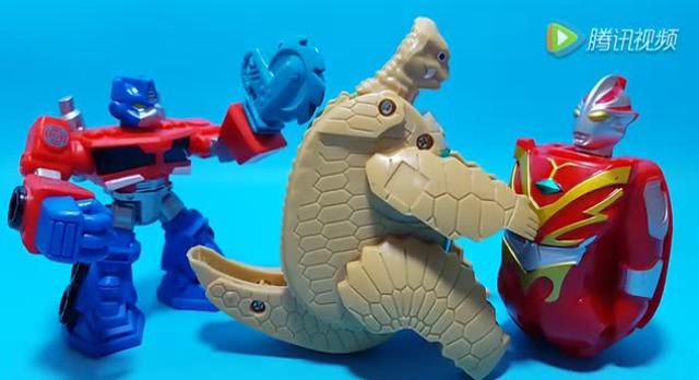 变形金刚擎天柱解救奥特蛋变形奥特曼大战恐龙