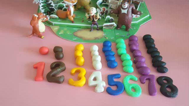 熊出没成员聚会 彩泥制作数字模型 早教益智视频