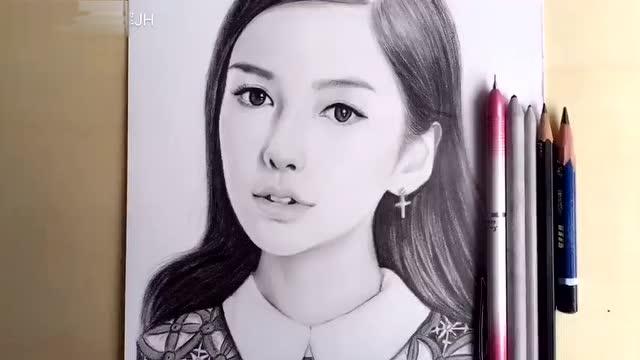 铅笔画 杨颖