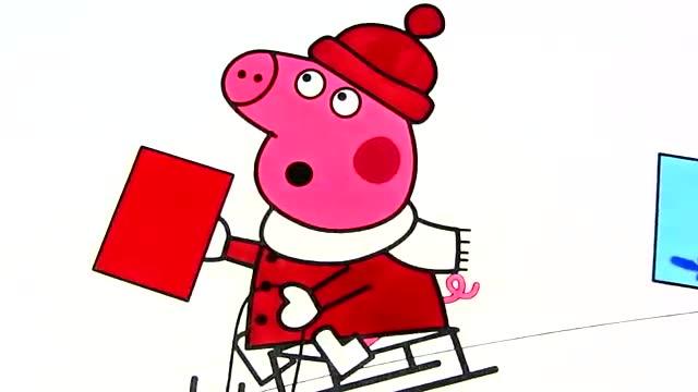亲子画画学习:小猪佩奇爱画画过圣诞了图片