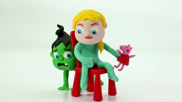 早教彩泥动画 蜘蛛侠抢玩具 还欺负绿巨人和小艾莎