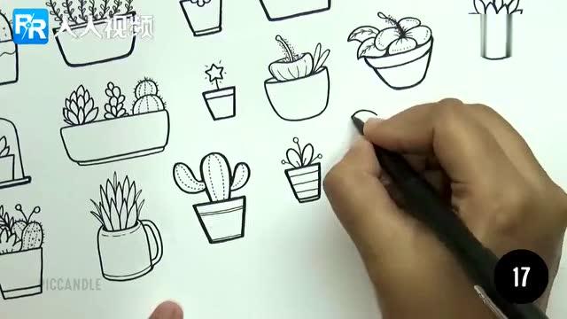 超级简单的30种手绘植物画法 教小孩子,装饰手账都超可爱 马住
