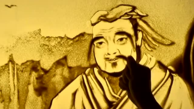 手绘沙画:东方智者孔子老师