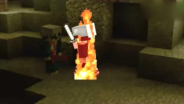 《我的世界》动画:火焰剑vs铁剑,谁的伤害更高?