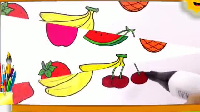 亲子画画学习: 画画水果菠萝苹果西瓜