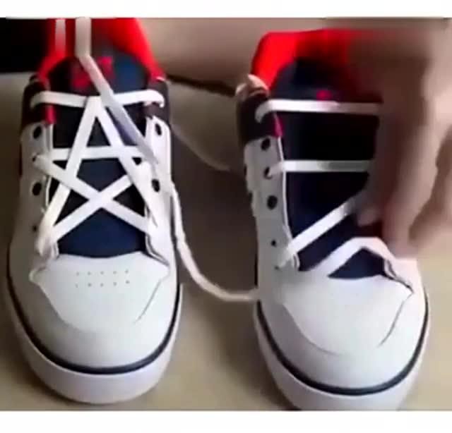 五角星鞋带系法 速速get逼格提起来!