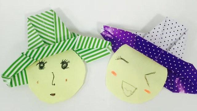 手工折纸教程 折一个超可爱的帽子