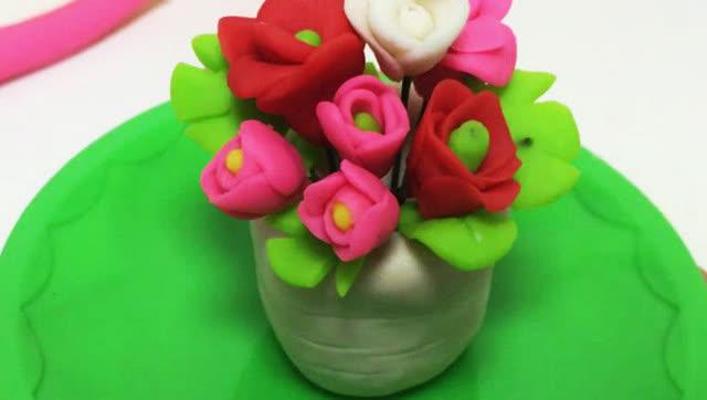 玩具视频 橡皮泥手工制作香艳芍药花 亲子游戏