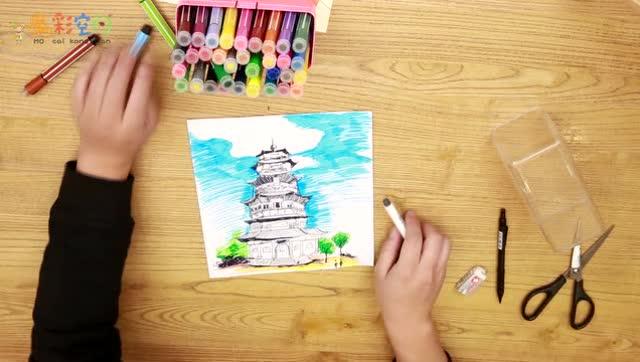 小学美术二年级(上) 雄伟的塔图片
