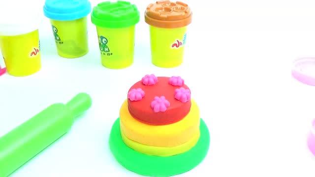 彩色生日蛋糕 彩泥diy创意制作 熊出没