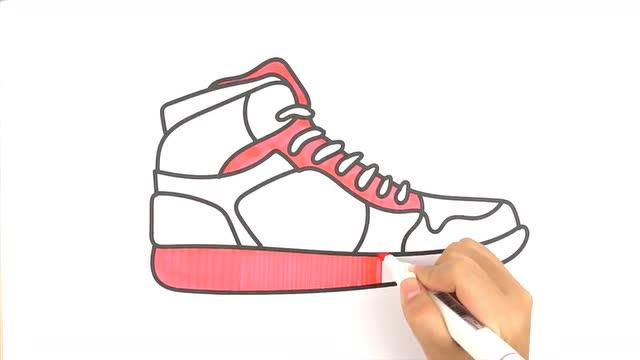 儿童简笔画:漂亮的运动鞋子球鞋 儿童美术涂鸦学画涂色画
