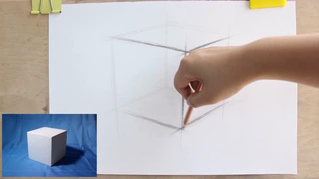 正方体结构素描 石膏几何体的素描教程