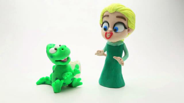 艾尔莎公主橡皮泥动画片小恐龙与小蜘蛛侠