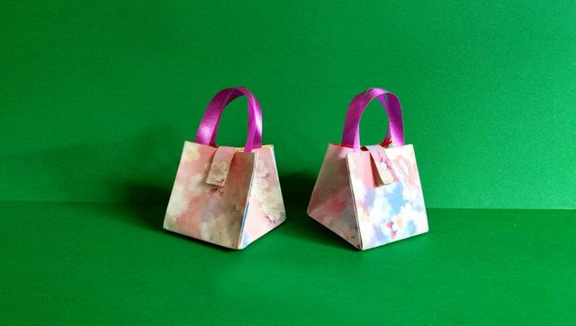手工折纸-迷你手提包防水收纳包 漂亮实用能装好多小物品