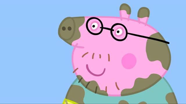 小猪佩奇:猪爸爸带着风筝与佩奇他们跳泥坑 好玩的狠