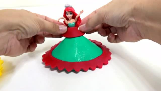 培乐多橡皮泥diy制作迪士尼公主爱丽儿的裙子和手提包