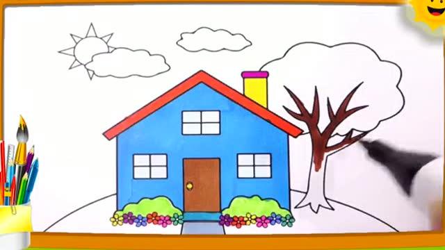 亲子画画学习: 画画漂亮蓝房子小树叶图片