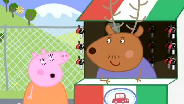 《小猪佩奇》猪爸爸带着佩奇和乔治,坐飞机去旅行,飞机外面好美