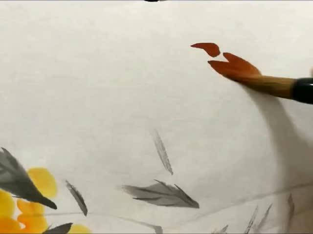 观墨写意枇杷三雀鸟部分