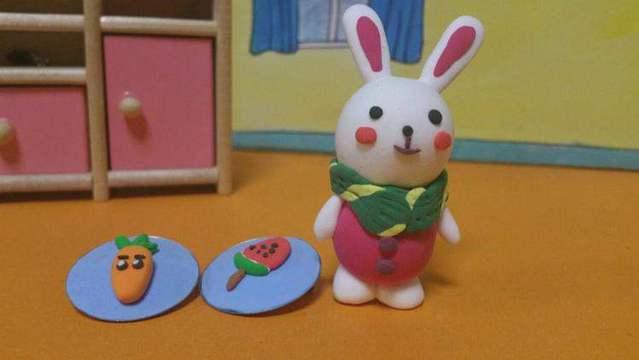 芭比娃娃手工制作卡通兔子教程 超轻粘土儿童diy亲子玩具游戏