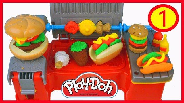 培乐多彩泥橡皮泥厨房玩具烧烤炉套装,麦当劳套餐汉堡