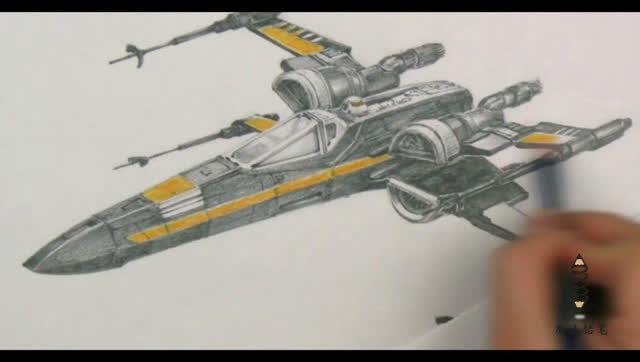 素描手绘炫酷战斗机,考验画工之作