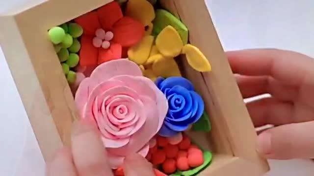 幼儿手工diy 彩泥制作 精致的玫瑰花相框
