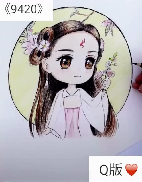 如晨艺术:手绘q版迪丽热巴