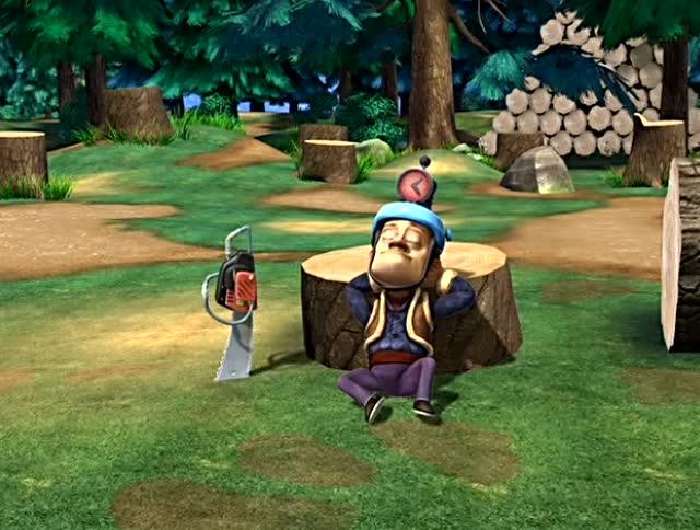 熊出没之丛林总动员:光头强不砍树,帽子就让他全身静电,好厉害图片
