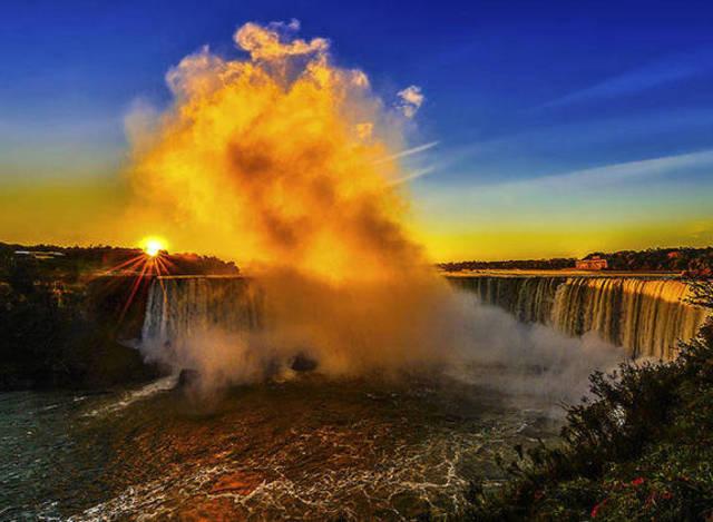 美国纽约州西部风景,包括尼亚加拉大瀑布,北美五大湖